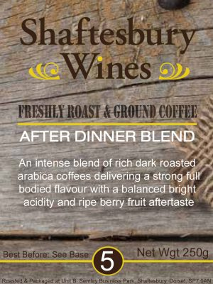 Shaftesbury Wines own label coffee